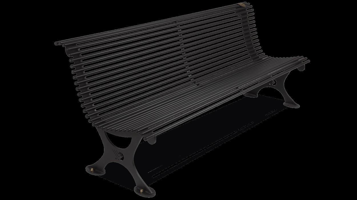 Panchina con schienale realizzata in acciaio per arredo for Arredo urbano panchine