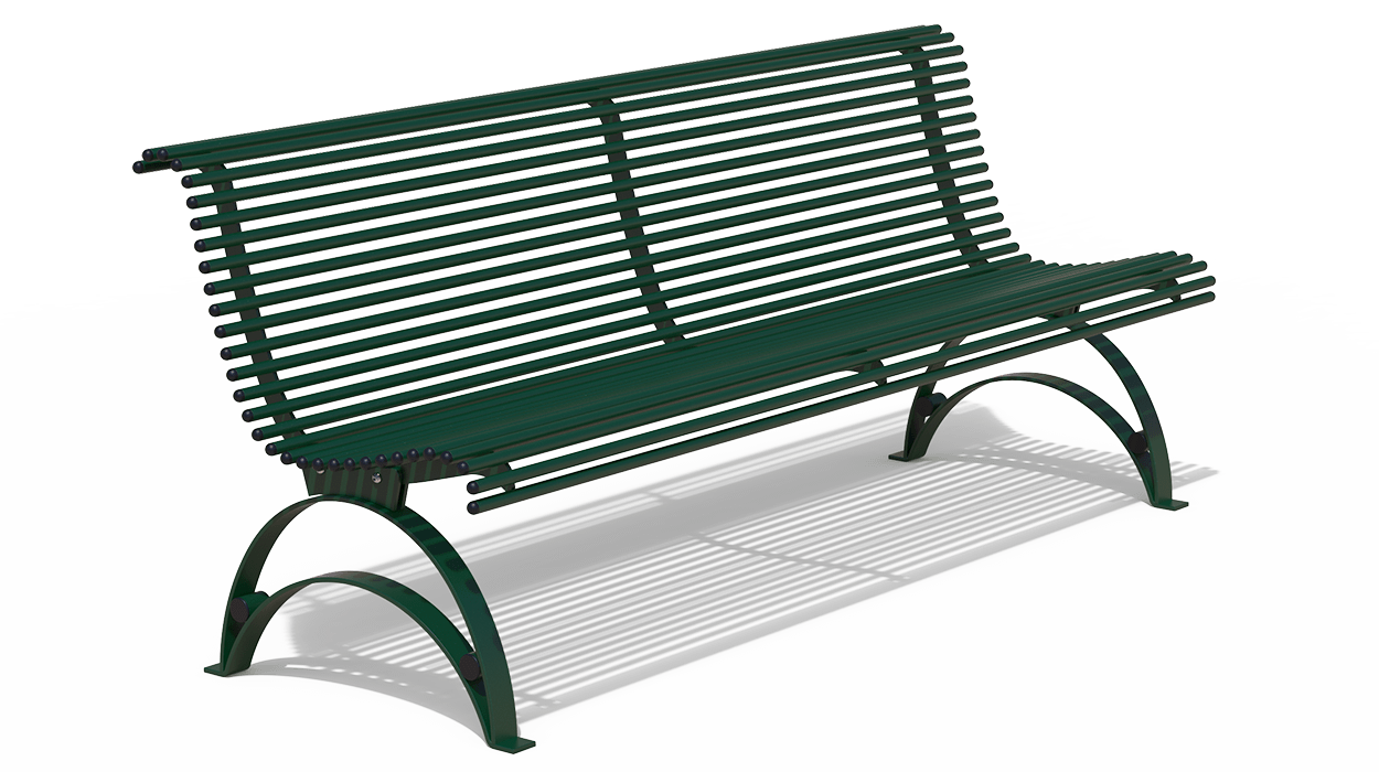 Panchina in metallo con schienale per arredo urbano for Arredo urbano panchine