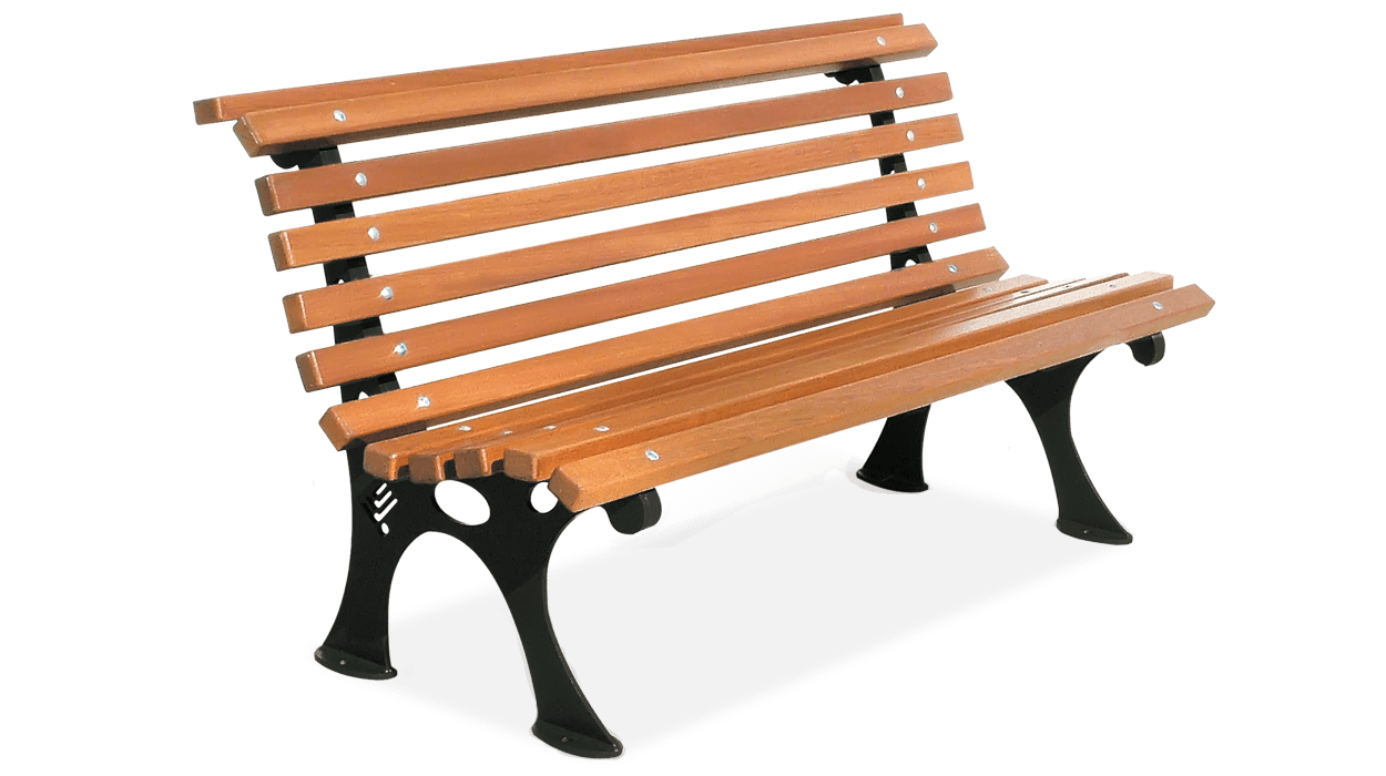 Bench for urban furniture with planks of pine wood, model ...