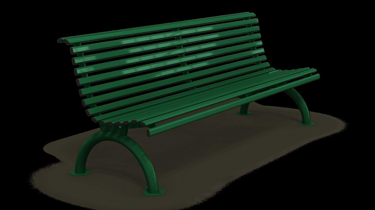 Panchina in acciaio zincato con schienale per arredo for Dimcar arredo urbano