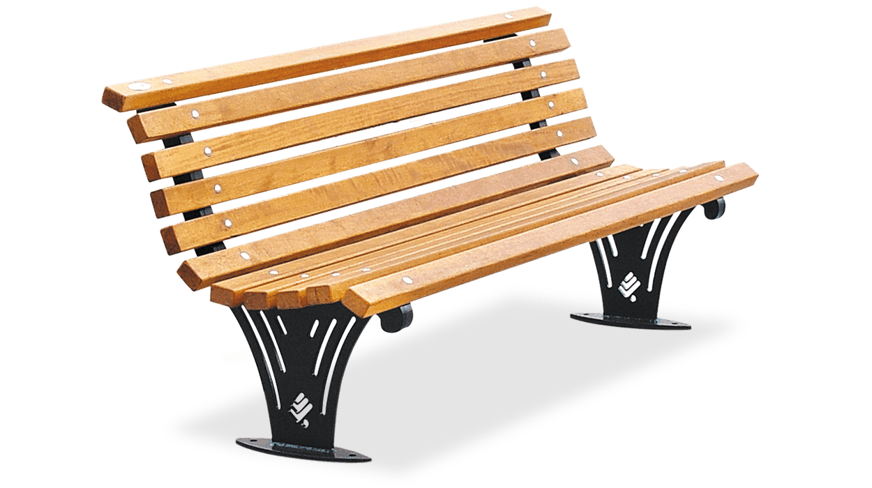 Bench with backrest for street furniture with wooden ...