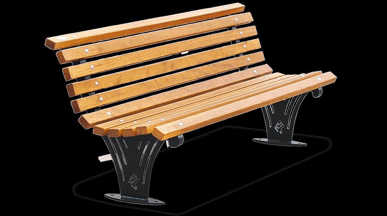 Panchina con schienale per arredo urbano con listoni in for Dimcar arredo urbano