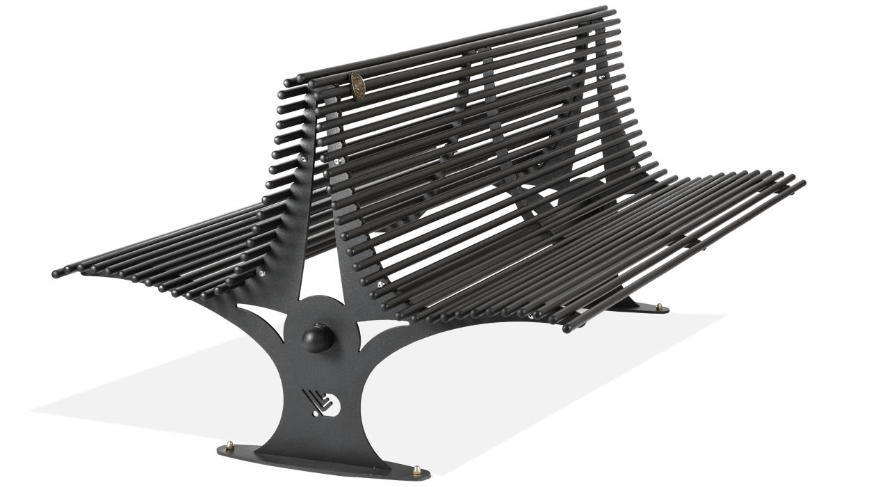 Panchina con seduta fronte retro in acciaio zincato for Dimcar arredo urbano
