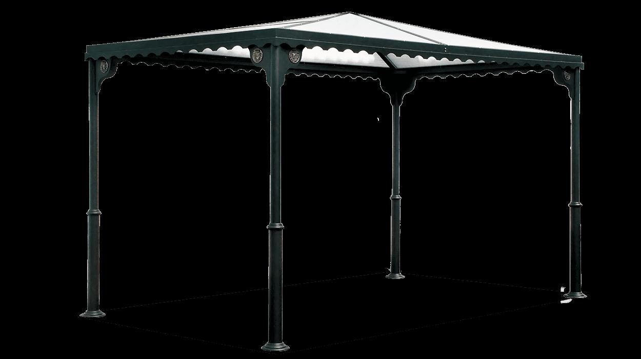 Gazebo di copertura in metallo con tetto in policarbonato for Gazebo per auto usato