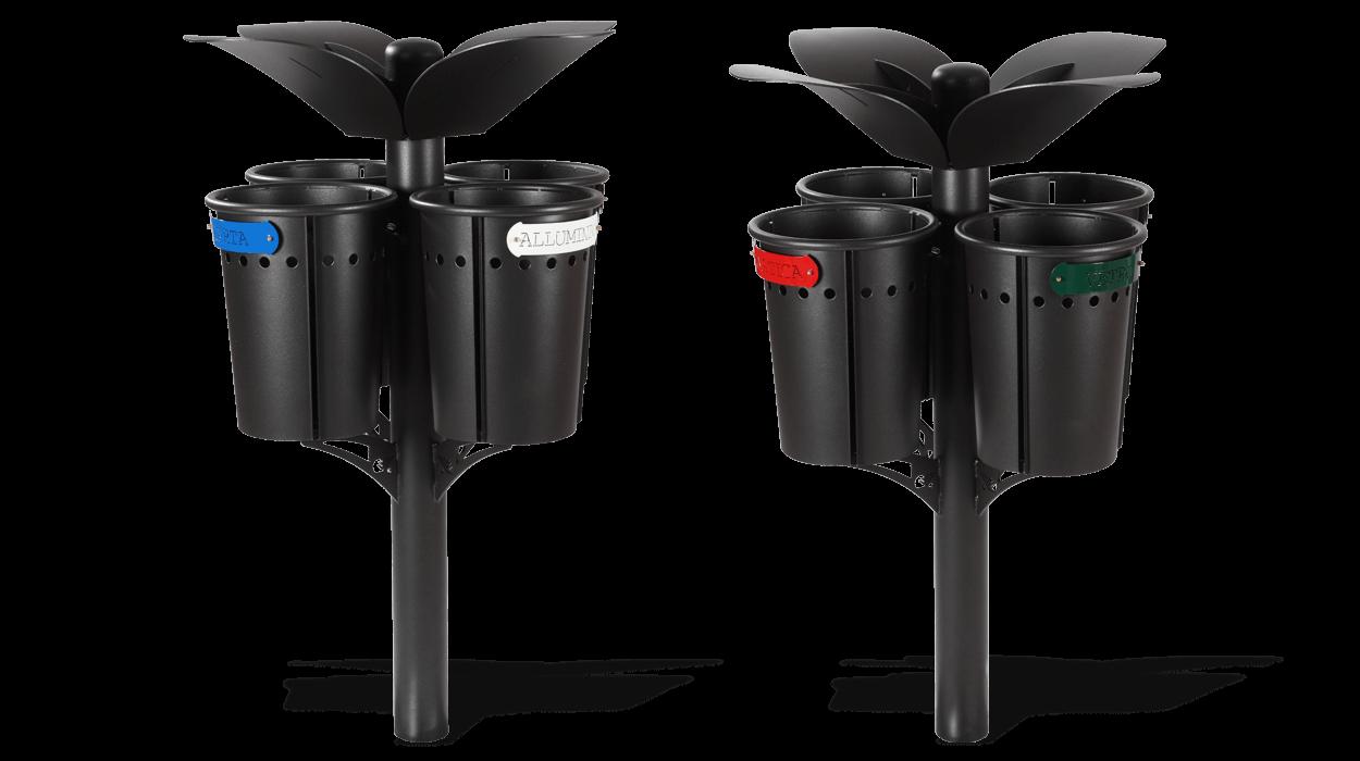 Cestino con quattro contenitori per la raccolta for Dimcar arredo urbano