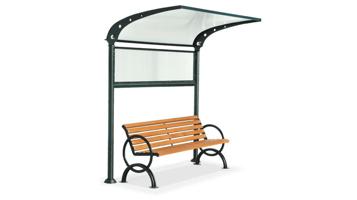 Cover bench made of steel and polycarbonate, Oasis model.