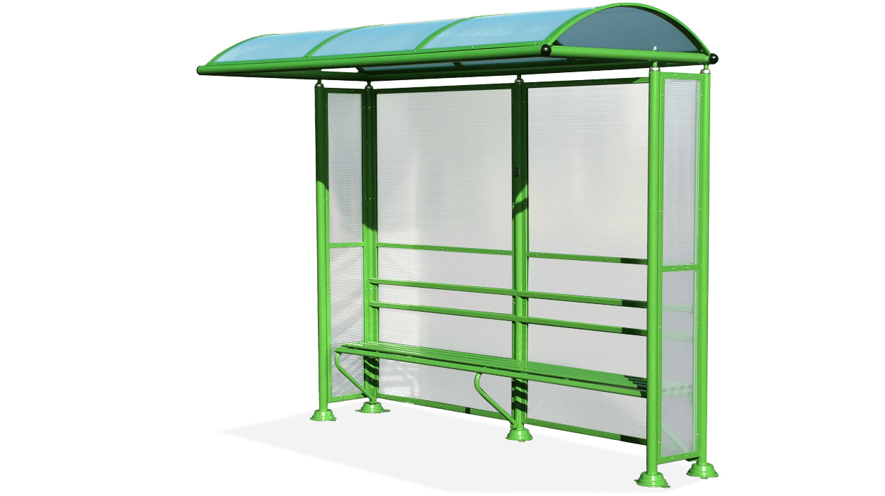 Pensilina per fermata autobus con pareti laterali e for Dimcar arredo urbano