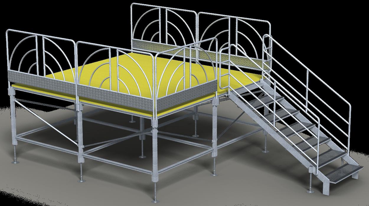 Palco di tipo modulare con struttura in acciaio e piano in for Dimcar arredo urbano