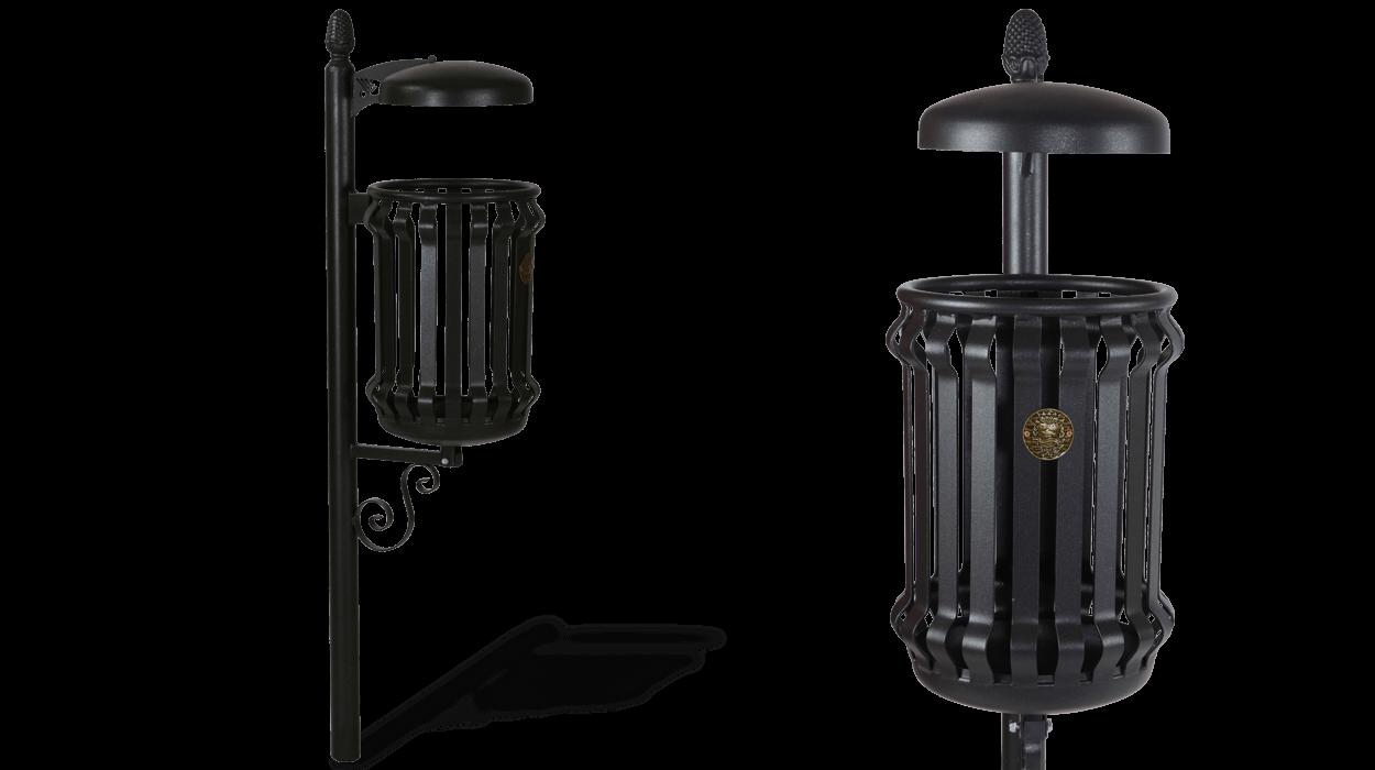 Contenitore per rifiuti urbani modello barocco con for Arredo urbano cestini