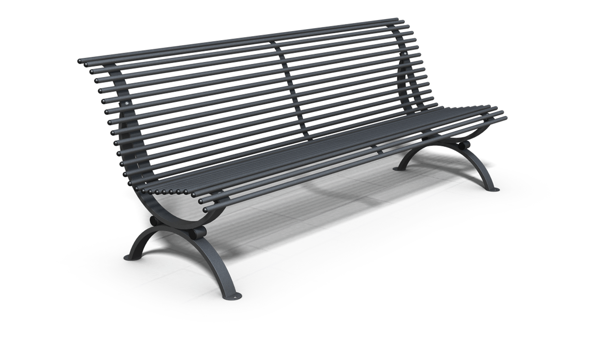 Bench for urban tubular steel model clematis straight for Dimcar arredo urbano