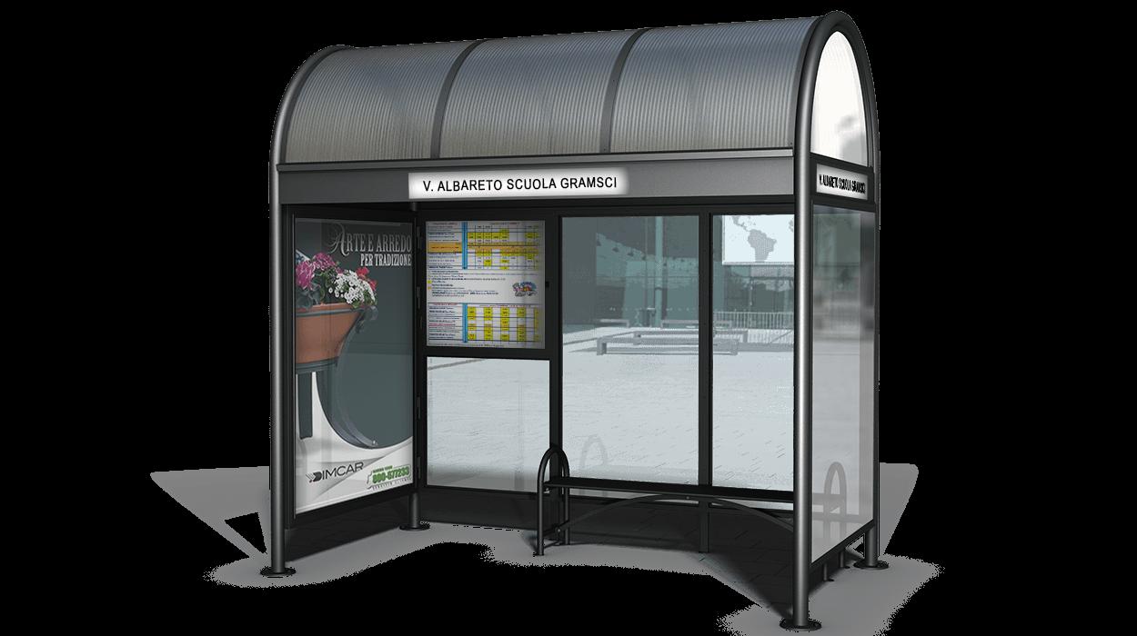 Pensilina per attesa autobus modello modena con pareti e for Dimcar arredo urbano