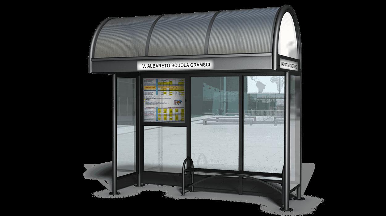 Pensilina per attesa autobus modello modena con pareti for Dimcar arredo urbano