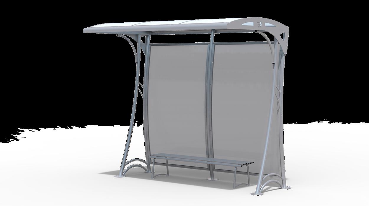 Pensilina per fermata autobus realizzata in metallo con for Dimcar arredo urbano