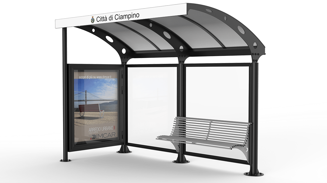 Pensilina attesa autobus con bacheca laterale e panchina for Dimcar arredo urbano