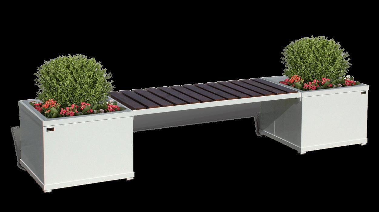 Panca con fioriere in metallo e seduta con listoni in for Arredo urbano panchine