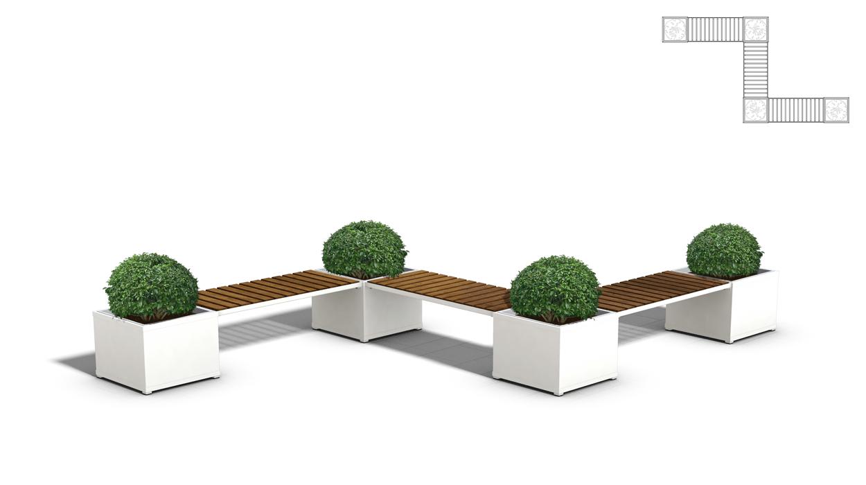 Panca con fioriere in metallo e seduta con listoni in for Dimcar arredo urbano