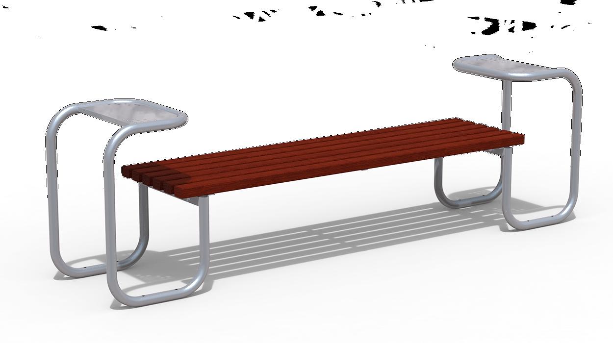 Panca per arredo urbano telaio in ferro seduta in listoni for Panca arredo