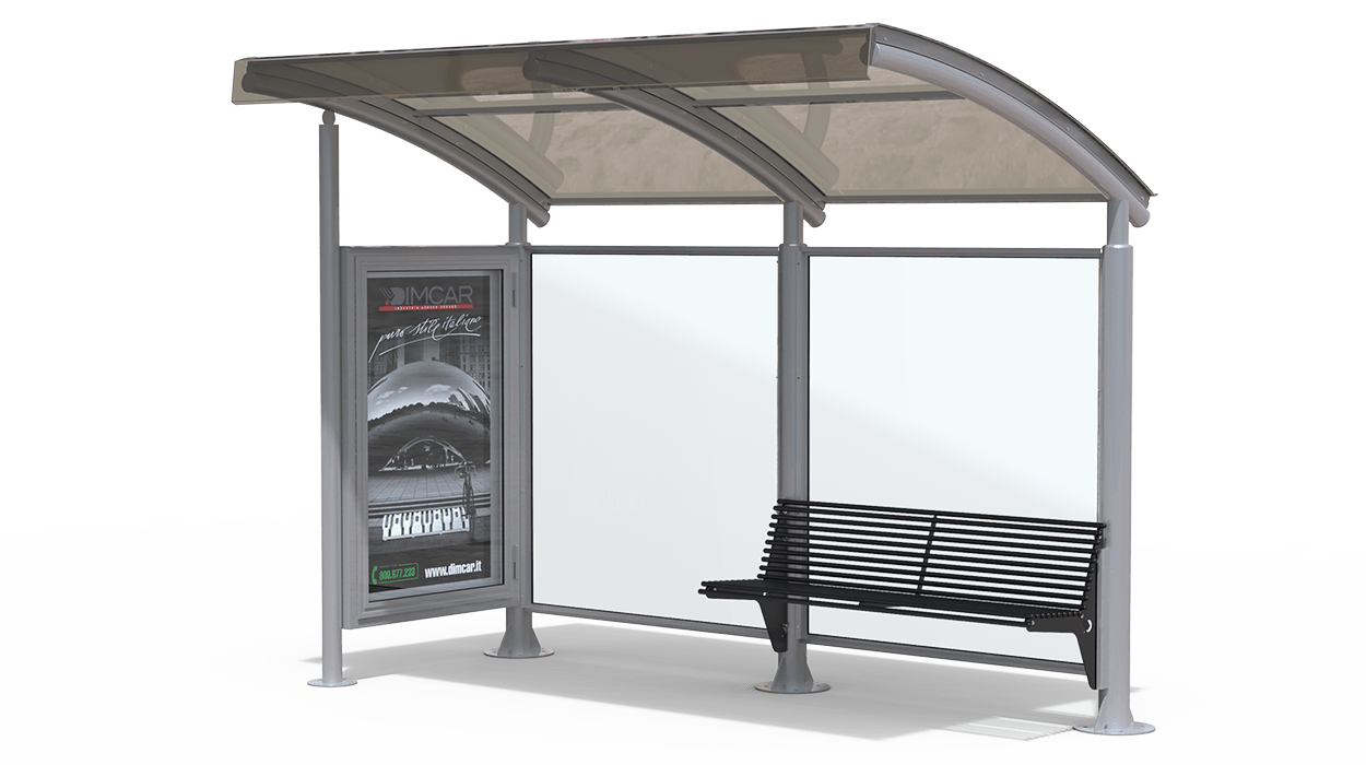 Bus shelter with wall side wall space model for Toit en polycarbonate transparent