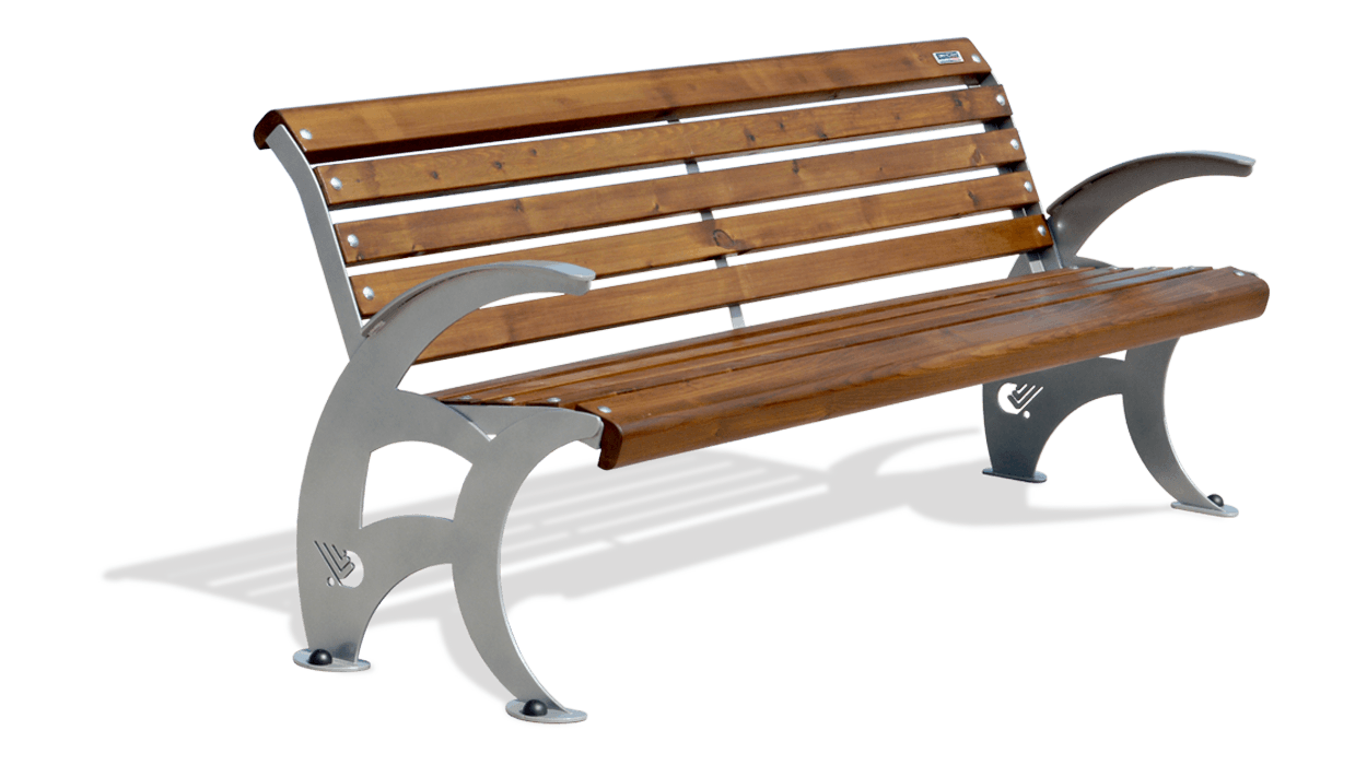 Panchina con struttura in ferro seduta e schienale in for Arredo urbano panchine