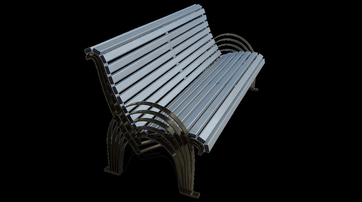 Panchina per arredo urbano in acciaio modello sauro for Dimcar arredo urbano