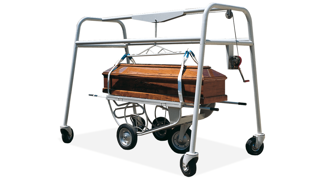 Manual coffin lowering device