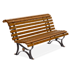 Bench Margherita with wooden planks