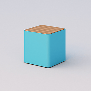 Cubik seat with wood planks