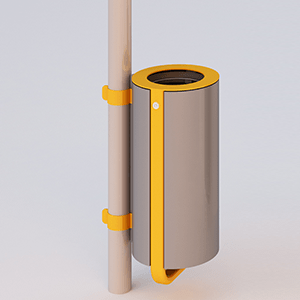 Diapason litter bin pole mounting