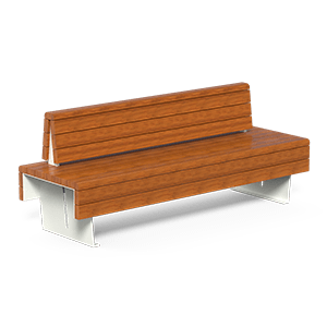 Bench Flea with OKUME wood planks