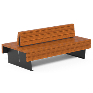 Flea bench double seat with OKUME wood planks