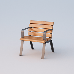 Single place seat Betty with armrests and OKUME wood planks