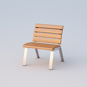 Single place seat Betty with OKUME wood planks without armrests.